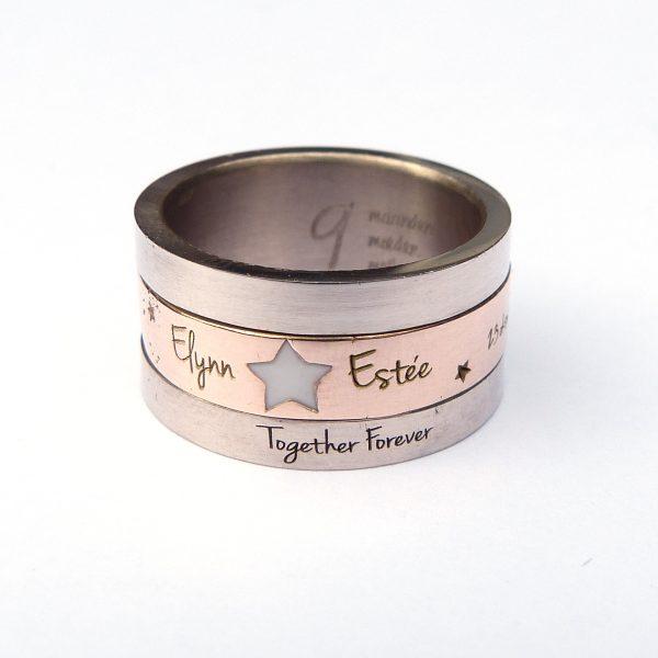 Bekend Tekst-Ring - Draai-Ring – witgoud en roodgoud, 1 draaiende ring &LF17